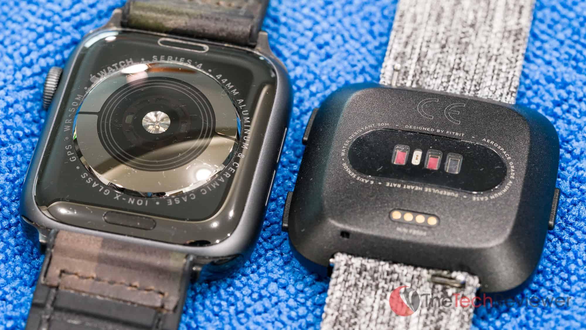 Apple Watch versus Fitbit Versa HR Sensors